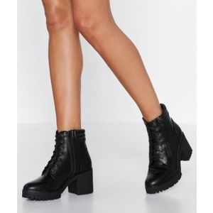 nasty gal tough act to follow lace up boots